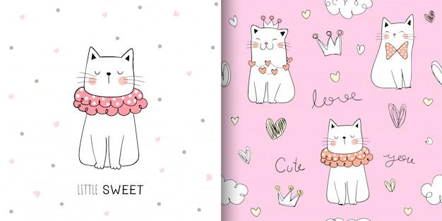 Dibuja el gato lindo de patrones sin fisuras en pastel dulce.