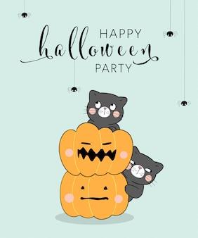 Dibuja gato negro con calabaza y araña. para halloween.