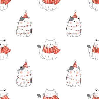 Dibuja un gato de patrones sin fisuras para la navidad del invierno