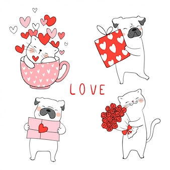 Dibuja el gato y el perro pug con poco corazón para san valentín.