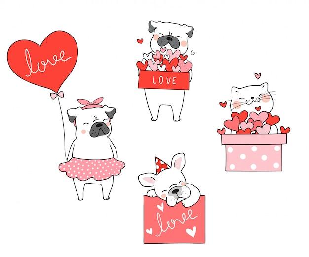 Dibuja el gato y el perro pug con poco corazón para san valentín