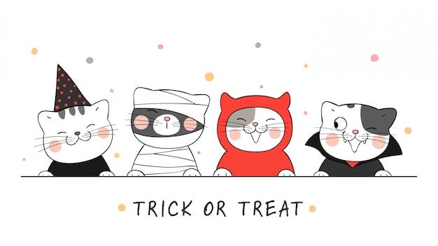 Dibuja un gato en traje de diablo, bruja, momia y drácula. para halloween.