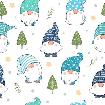 Dibuja un gnomo de patrones sin fisuras para el invierno.