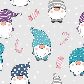 Dibuja un gnomo de patrones sin fisuras en la nieve para el invierno