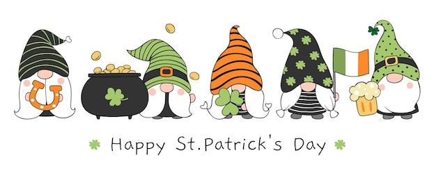 Dibuja gnomos de estandarte para el día de san patricio.