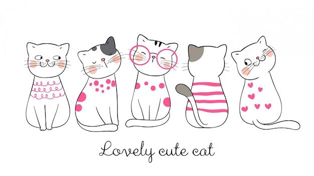 Dibuja gracioso gato rosa pastel.