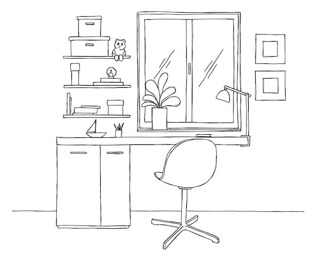 Dibuja la habitación. silla de oficina, escritorio, varios objetos sobre la mesa. espacio de trabajo de croquis. ilustración