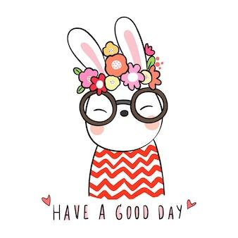 Dibuja lindo conejo con flor de belleza en la cabeza