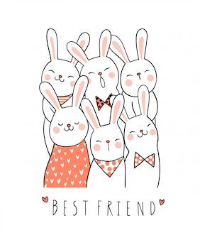 Dibuja un lindo conejo con un dulce color y una palabra como mejor amigo