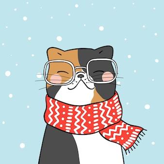 Dibuja un lindo gato con una hermosa bufanda en la nieve para la temporada de invierno