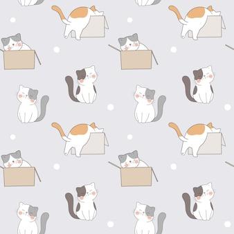 Dibuja un lindo gato de patrones sin fisuras en una caja