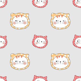 Dibuja un lindo gato de patrones sin fisuras con un pequeño lunar