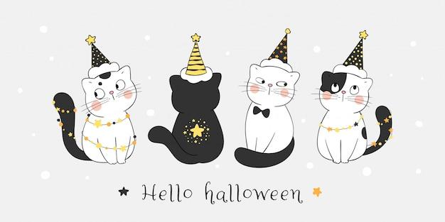 Dibuja un lindo gato con sombrero de bruja en la noche de estrellas. para halloween.