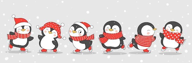Dibuja un lindo pingüino en patinaje para el invierno y la navidad.