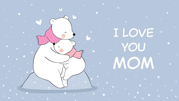 Dibuja mamá oso polar y bebé abrazo en la nieve para el día de la madre.