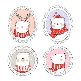 Dibuja oso blanco en marco vintage para el día de navidad.