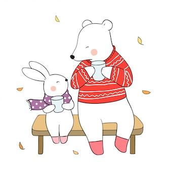 Dibuja oso y conejo beben té caliente en otoño.