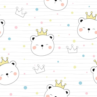 Dibuja un oso y una corona de patrones sin fisuras en la cabeza con lunares de color.