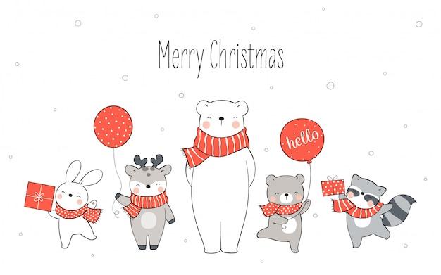 Dibuja un oso polar y un animal feliz de pie en la nieve para navidad.