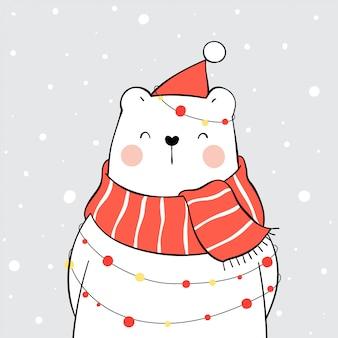 Dibuja un oso polar con un pañuelo rojo en la nieve para navidad.