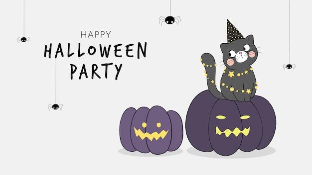 Dibuja pancarta de gato sentado en calabaza con araña. para halloween.