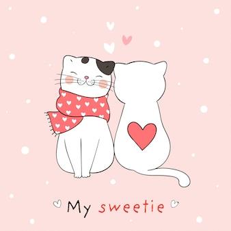 Dibuja pareja amor de gato con corazón pequeño para san valentín.