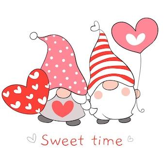 Dibuja pareja de gnomos de amor con corazón rojo para san valentín
