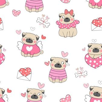 Dibuja un perro pug sin costuras para el estilo de doodle del día de san valentín