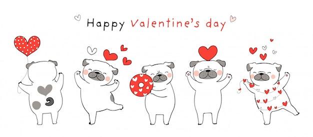 Dibuja un perro pug con pequeños corazones rojos para san valentín.