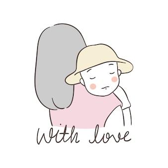 Dibuja el personaje madre que cuida al bebé