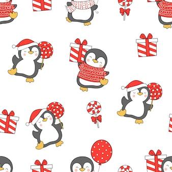 Dibuja pingüinos de patrones sin fisuras para navidad y año nuevo