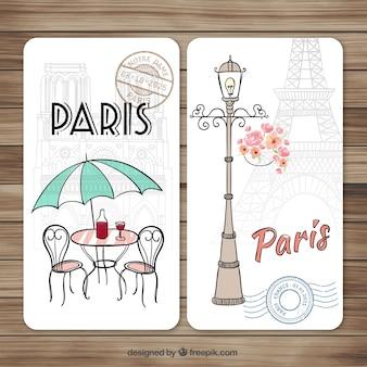 Dibujadas a mano lindas tarjetas de parís