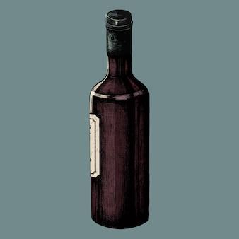 Dibujado a mano botella de vino aislada