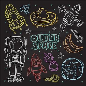 Dibujado a mano conjunto de elementos lindos doodle. espacio exterior, astronauta y nave espacial