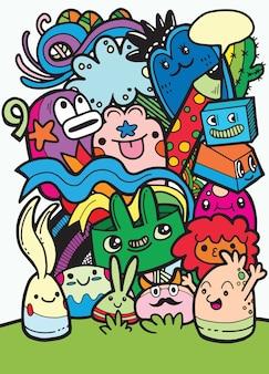 Dibujado a mano crazy doodle monster group