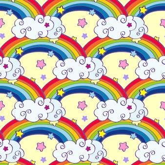Dibujado a mano dibujos animados arco iris