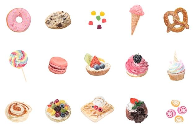 Dibujado a mano dulces estilo acuarela