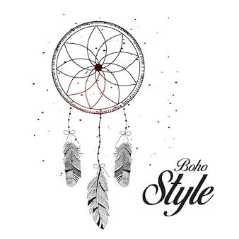 Dibujado a mano estilo boho en hermoso fondo de círculo decorativo con plumas.