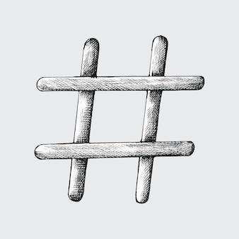 Dibujado a mano ilustración de hashtag