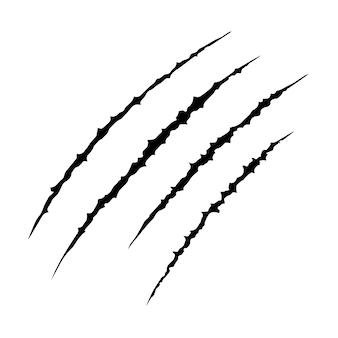 Dibujado a mano las garras del animal arañan la pista de rasguño, tigre de gato rasguña la forma de la pata, cuatro traza de las uñas, ilustración vectorial diseño plano aislado.