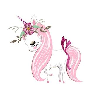 Dibujado a mano linda historieta de la niña unicornio