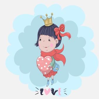 Dibujado a mano linda niña y corazón de dibujos animados
