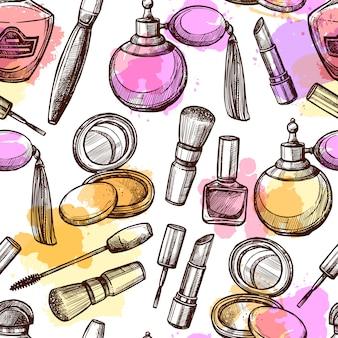 Dibujado a mano los cosméticos de patrones sin fisuras