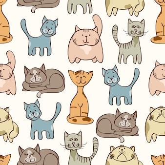 Dibujado a mano los gatos lindos de patrones sin fisuras