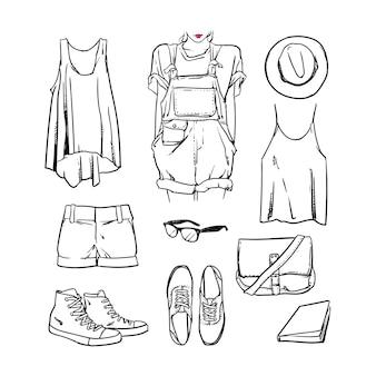Dibujado a mano niña ropa y accesorios esquema