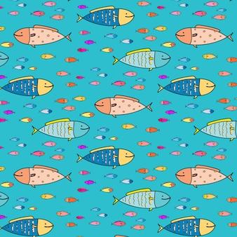 Dibujado a mano resumen antecedentes del patrón de pescado.