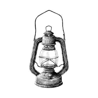 Dibujado a mano retro linterna