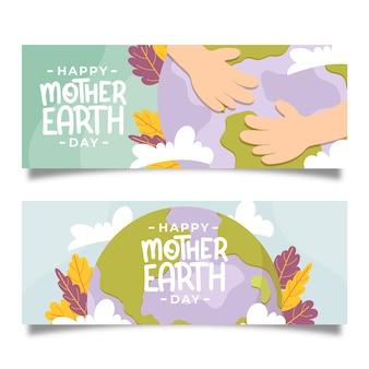 Dibujado banner del día de la madre tierra