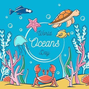 Dibujado el concepto de ilustración del día mundial de los océanos