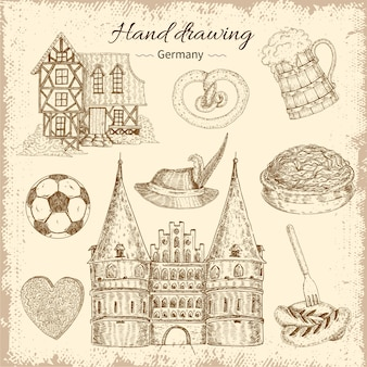 Dibujado conjunto de ilustración de alemania
